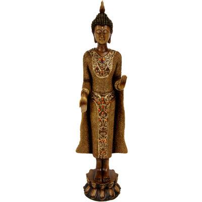 "Oriental Furniture 20"" Standing Thai Buddha Figurine"