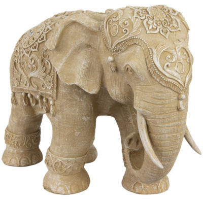"Oriental Furniture 20"" Ivory Elephant Figurine"