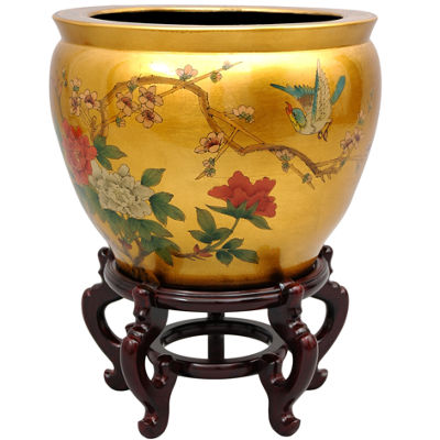 "Oriental Furniture 14"" Gold Birds & Flowers Planter"