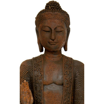 "Oriental Furniture 21"" Standing Semui-In Rust Patina Buddha Figurine"