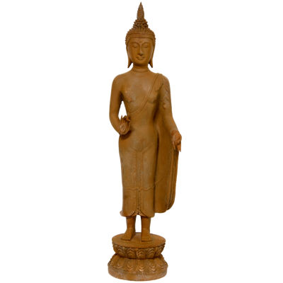 "Oriental Furniture 21"" Thai Standing Gebon Rust Patina Buddha Figurine"