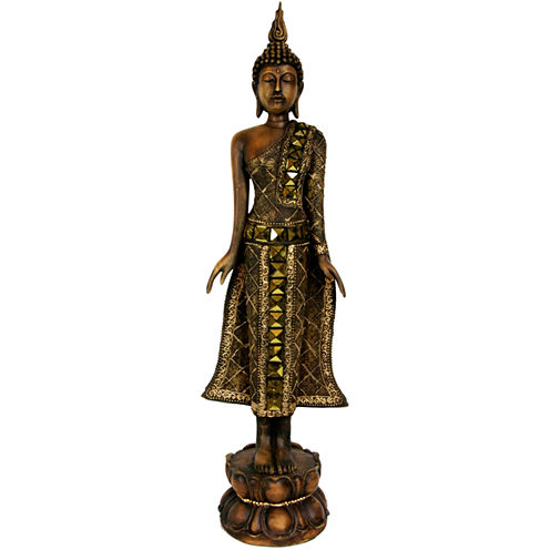 "Oriental Furniture 22"" Standing Thai Buddha Figurine"
