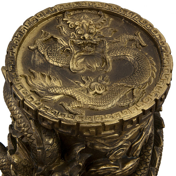 "Oriental Furniture 25"" Dragon Pedestal Figurine"