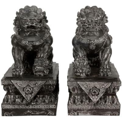 "Oriental Furniture 18"" Foo Dog Rust Patinas 2-pack Figurine"