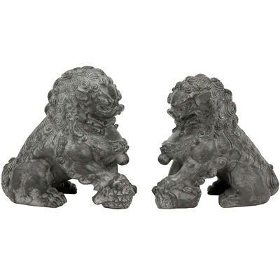 "Oriental Furniture 6"" Sitting Foo Dogs 2-pack Figurine"