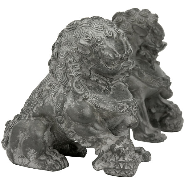 "Oriental Furniture 6"" Sitting Foo Dogs 2-pc. Figurine"