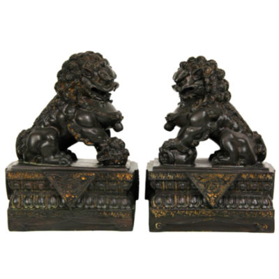 "Oriental Furniture 9"" Foo Dogs 2-pc. Figurine"