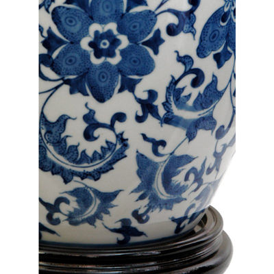 "Oriental Furniture 11"" Floral Blue & White Porcelain Vase"