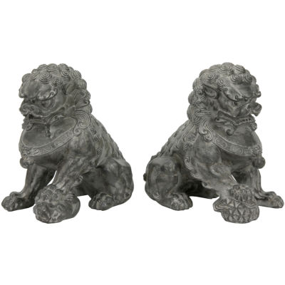 "Oriental Furniture 9"" Sitting Foo Dogs 2-pc. Figurine"