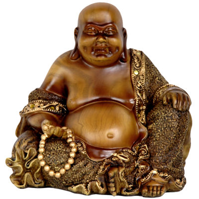 "Oriental Furniture 6"" Sitting Laughing Buddha Figurine"