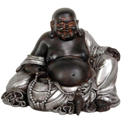 "Oriental Furniture 7"" Sitting Lucky Buddha Figurine"