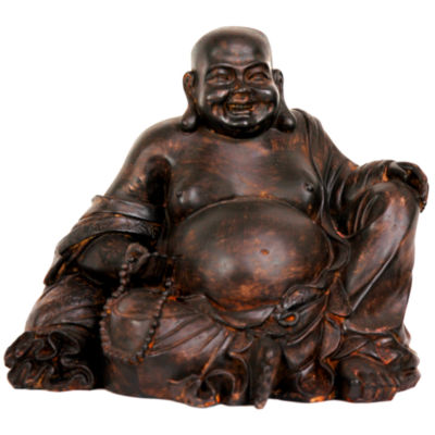 "Oriental Furniture 8"" Sitting Laughing Buddha Figurine"