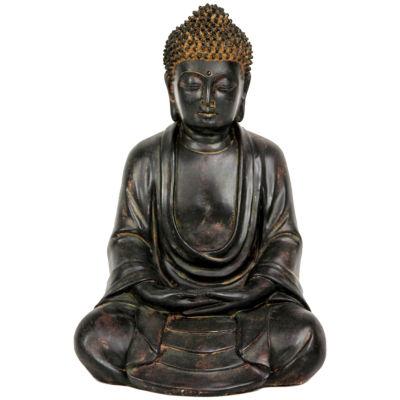 "Oriental Furniture 9"" Japanese Sitting Buddha Figurine"