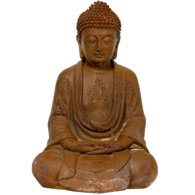 "Oriental Furniture 9"" Japanese Sitting Zenjo-In Rust Patina Buddha Figurine"