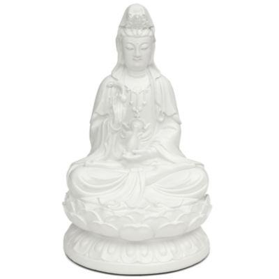 Oriental Furniture Sitting Kwan Yin Figurine