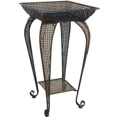 Oriental Furniture Perforated Square Iron Plant Stand