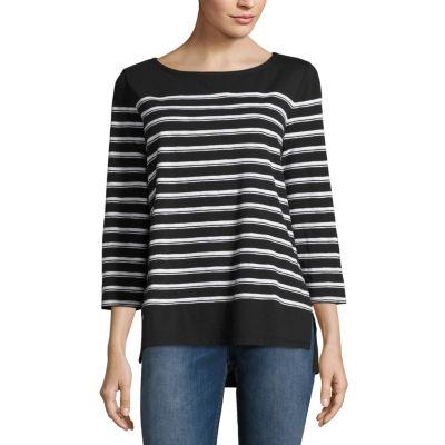 Liz Claiborne 3/4 Sleeve Boat Neck Stripe T-Shirt-Petites