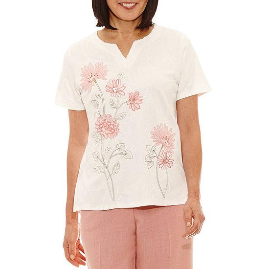 Alfred Dunner Botanical Garden-Womens V Neck Short Sleeve T-Shirt