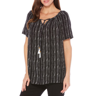 Rafaella Summer 17 Short Sleeve Stripe Peasant Top