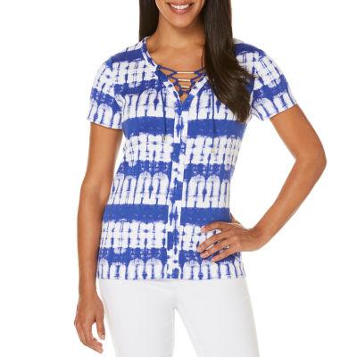 Rafaella Summer 17 Short Sleeve V Neck Tie Dye T-Shirt-Womens