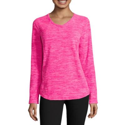 St. John's Bay Active Womens V Neck Long Sleeve Sweatshirt