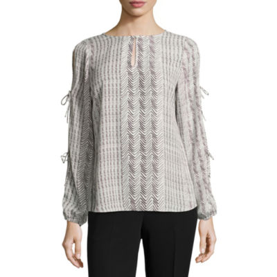 Worthington Long Tie Sleeve Blouse