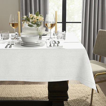 Fieldcrest Luxury Cotton-Linen Herringbone Tablecloth, One Size , White