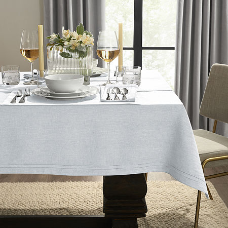 Fieldcrest Luxury Cotton-Linen Herringbone Tablecloth, One Size , Blue