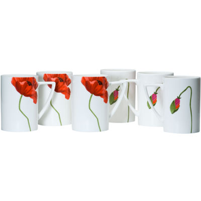 Red Vanilla Summer Sun Set of 6 Bone China Coffee Mugs