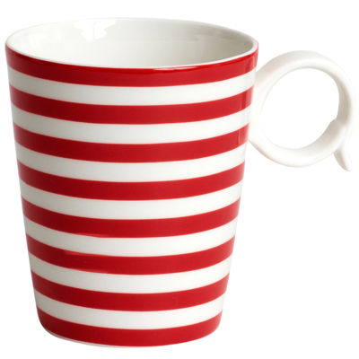 Red Vanilla Freshness Lines Porcelain Coffee Mug