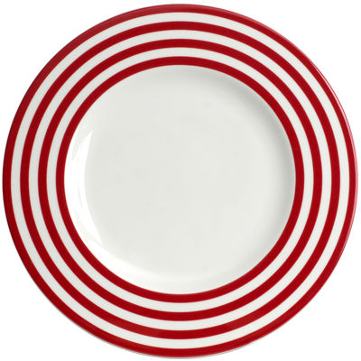 Red Vanilla Freshness Lines Dinner Plate