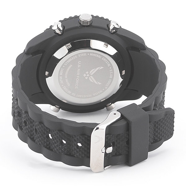 Wrist Armor® C28 Mens US Air Force Black Silicone Chronograph Watch