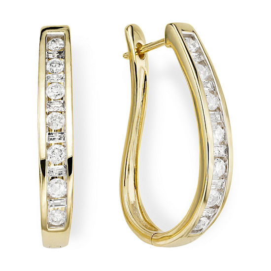 1 Ct Tw Diamond 10k Yellow Gold Hoop Earrings