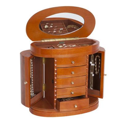 Mele & Co. Trinity Burlwood Walnut Finish Jewelry Box