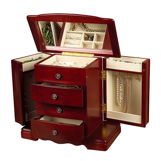 Mele & Co. Harmony Cherry-Finish Musical Jewelry Box