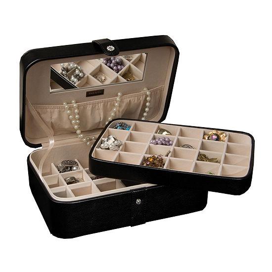 Mele Co Lila Black Faux Leather Jewelry Box