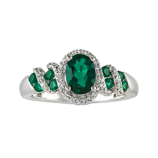 Lab Created Emerald And White Sapphire Sterling Silver Ring