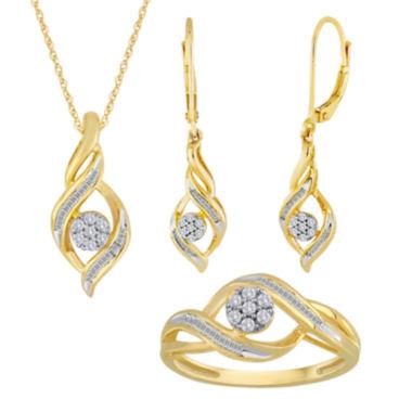 jcpenney.com   diamond blossom 1/5 CT. T.W. Diamond 10K Yellow Gold Cluster Jewelry
