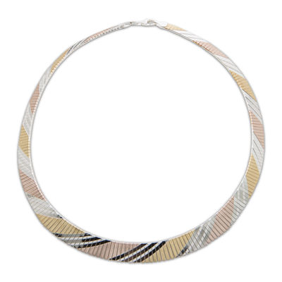 Made In Italy 14K Tri-Color Gold Over Silver Collar Necklace