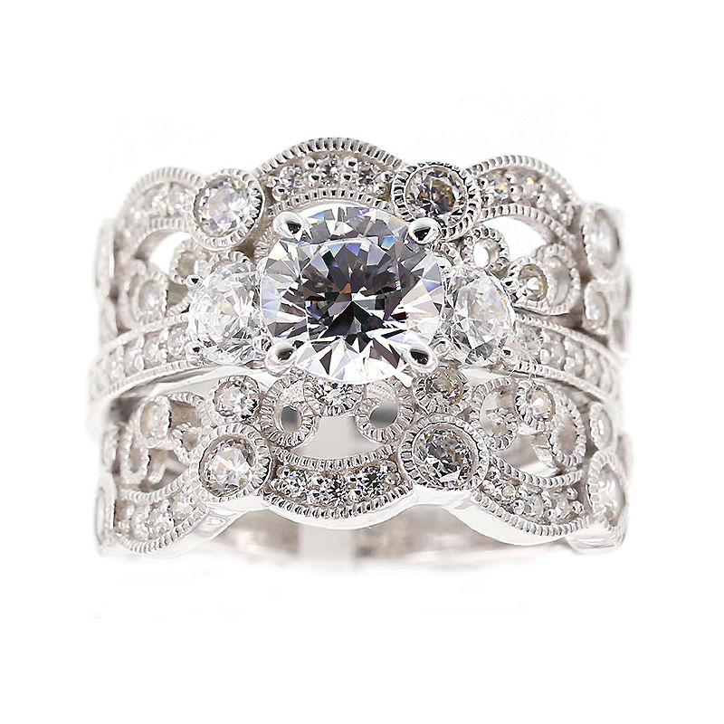 DiamonArt Cubic Zirconia Sterling Silver Vintage-Style Bridal Ring and Guard Set plus size,  plus size fashion plus size appare