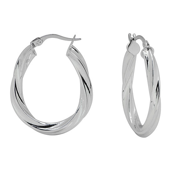 Made in Italy 14K White Gold Oval Twisted Hoop Earrings