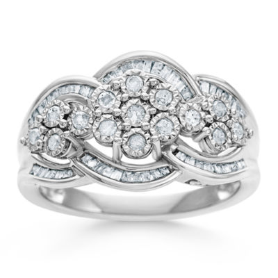 diamond blossom 1/2 CT. T.W. Diamond Miracle Plate Ring In Sterling Silver