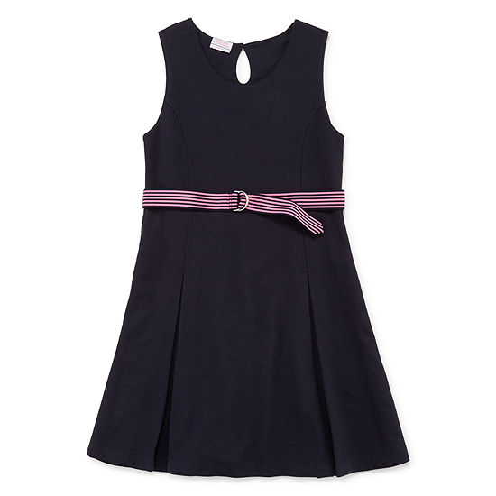 Izod Exclusive Girls Belted Sleeveless Jumper