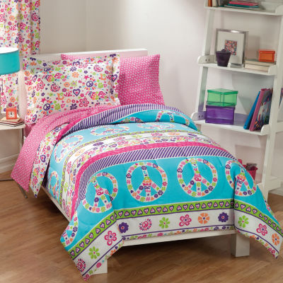 Dream Factory Peace & Love Comforter Set