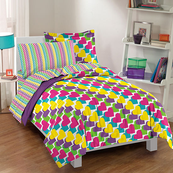 Dream Factory Rainbow Hearts Complete Comforter Set with Sheets