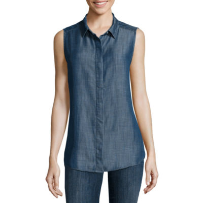 Liz Claiborne® Sleeveless Chambray Cotton Shirt