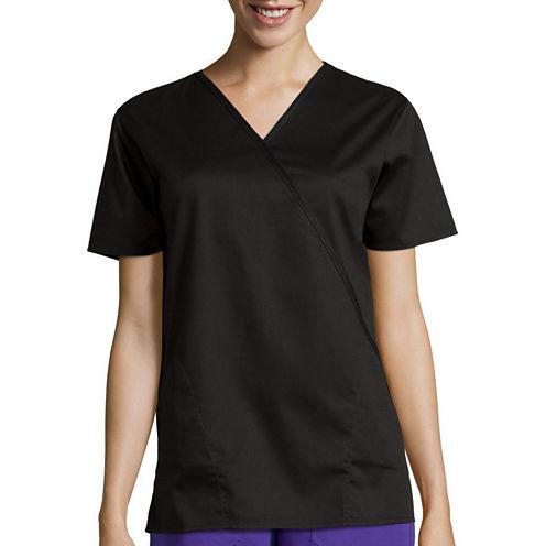 WonderWink® Womens Short-Sleeve Mock Wrap Top - Plus