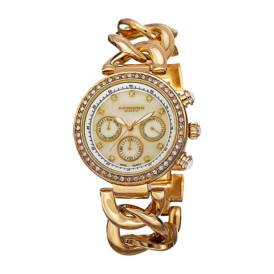 Akribos XXIV Womens Gold Tone Strap Watch-A-640yg