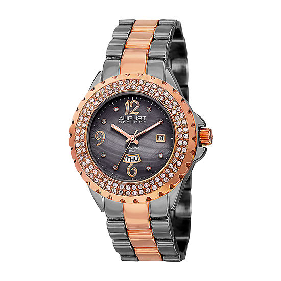 August Steiner Womens Two Tone Bracelet Watch-As-8156ttr