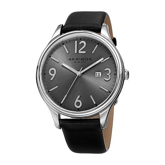 Akribos XXIV Mens Black Leather Strap Watch-A-869ss